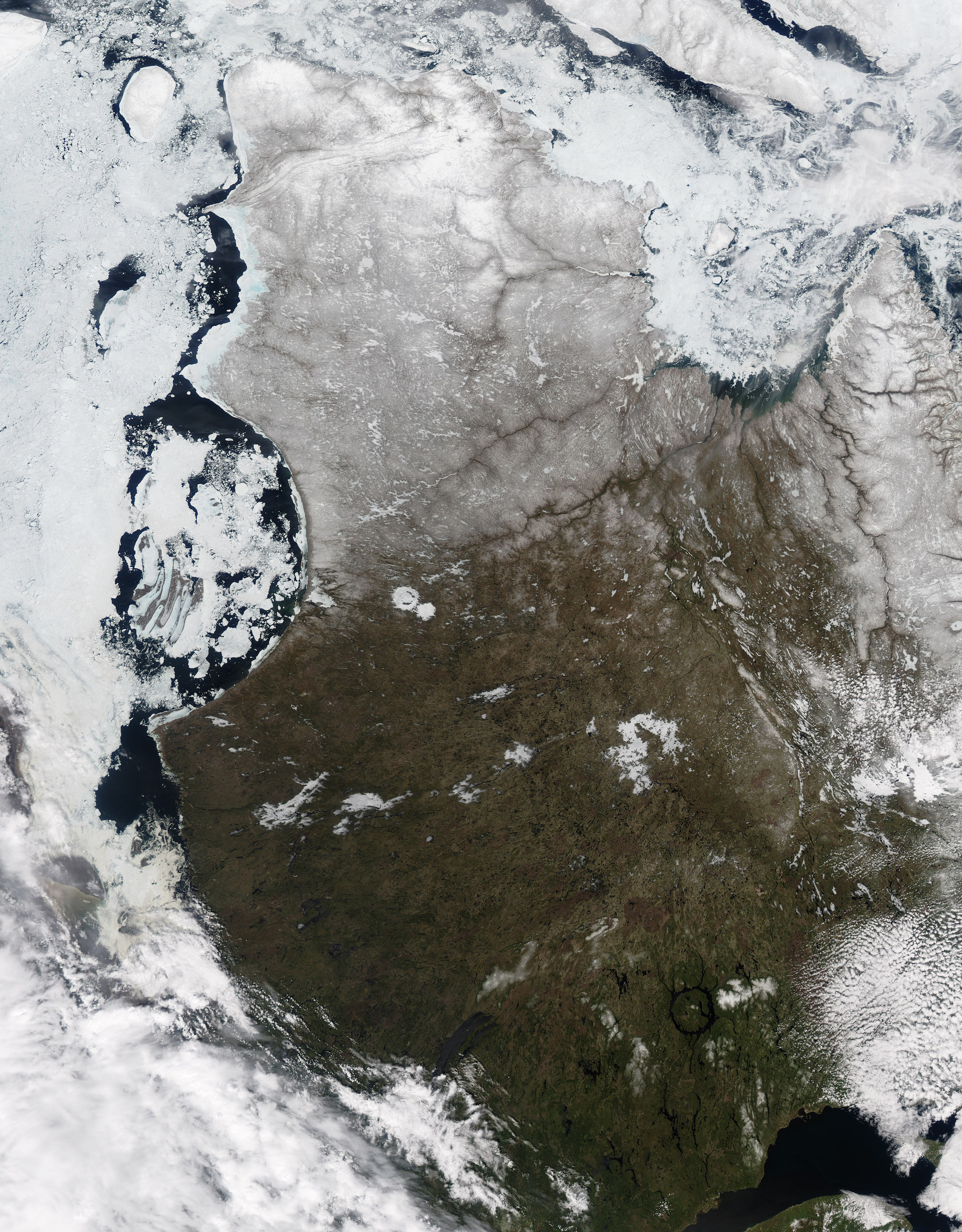 Today's Image of the Day comes thanks to the NASA Earth Observatory and features a look at sea ice in the Hudson Bay of northern Canada.