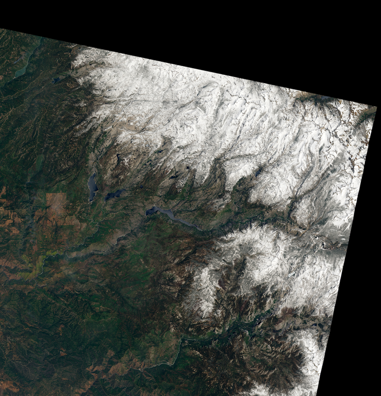 Today's Image of the Day comes thanks to the NASA Earth Observatory and features a look at the snowpack atop the Sierra Nevada mountains.