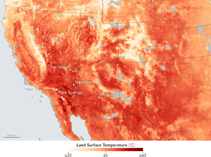 Today's Image of the Day comes thanks to the NASA Earth Observatory and features a look at the extreme heat gripping the southwestern United States.