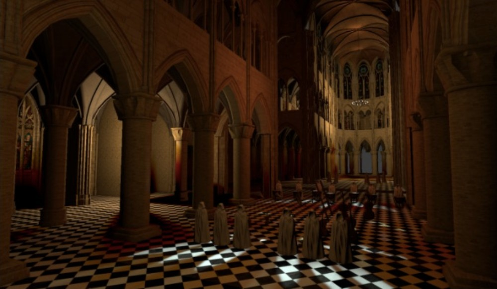 This is a screenshot of a visual rendering model of Notre Dame Cathedral, created based on plans, laser scan data and site visits. Advances in 3-D audio and acoustics are helping add depth to virtual reality.