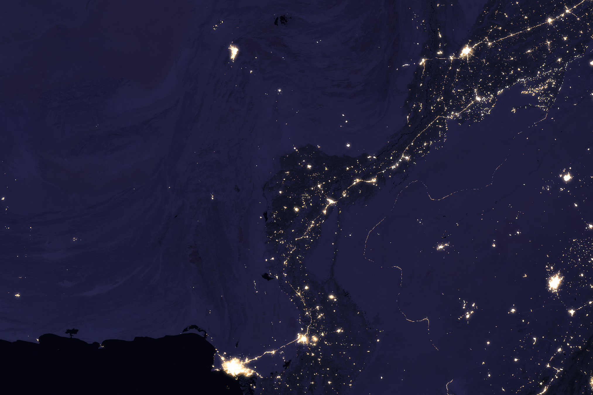 Today's Image of the Day comes thanks to the NASA Earth Observatory and features a look at the Indus River glowing at night.