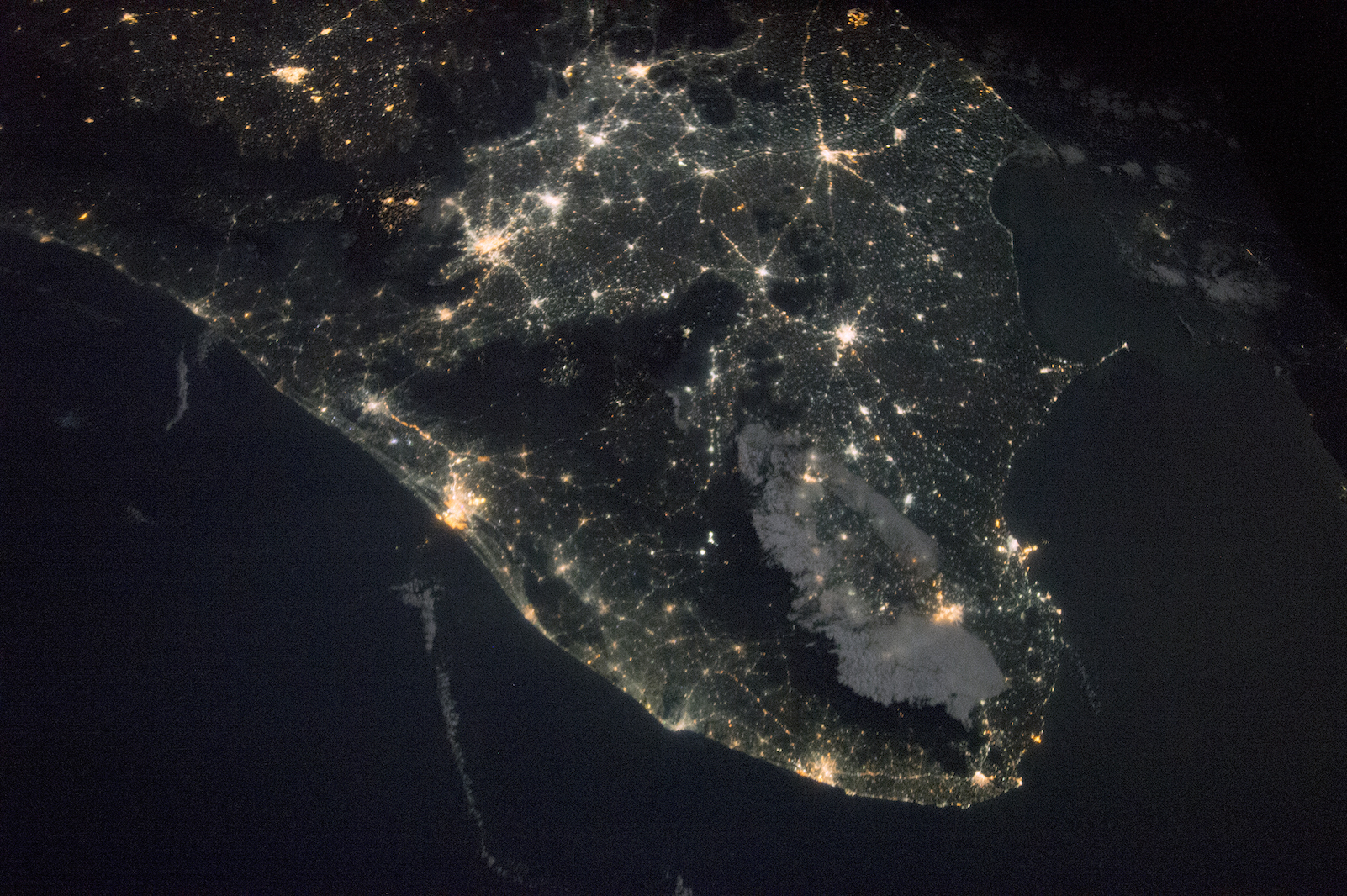 Today's Image of the Day comes thanks to the NASA Earth Observatory and features a look at the lights of southern India at night.