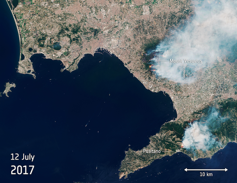 Today's Image of the Day comes thanks to the European Space Agency (ESA) and features a look at fires blazing on Mount Vesuvius.