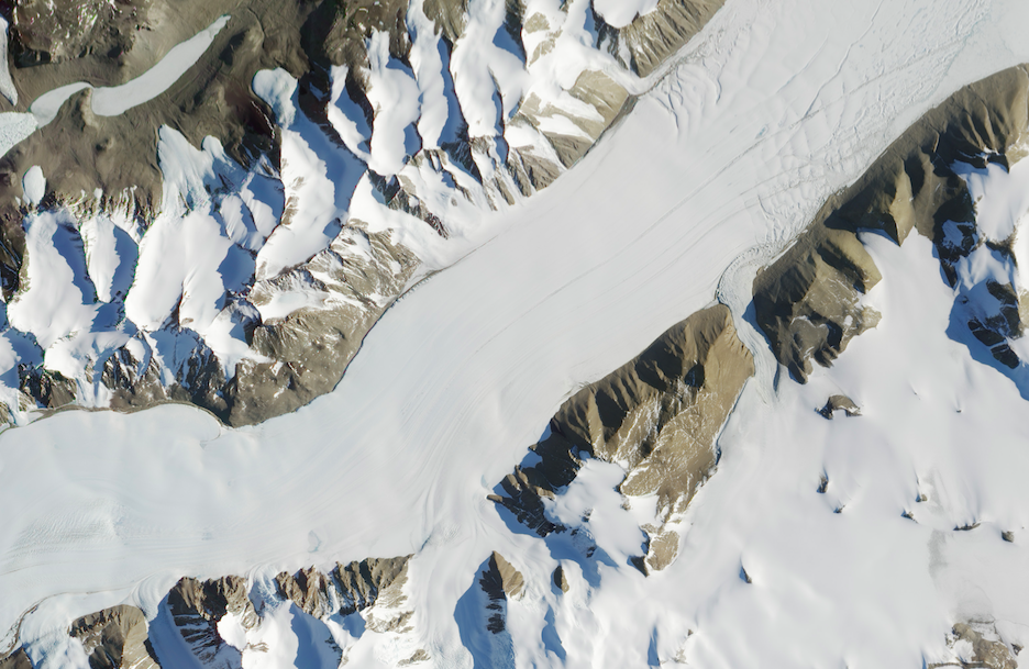 Today's Image of the Day comes thanks to the NASA Earth Observatory and features a look at the Ferrar Glacier in Antarctica.