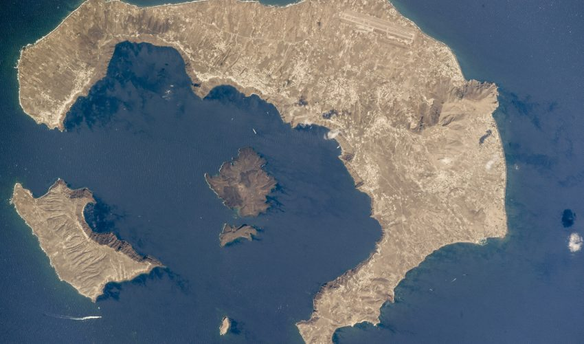 Today's Image of the Day comes thanks to the NASA Earth Observatory and features a look at a Santorini, Greece from the International Space Station.