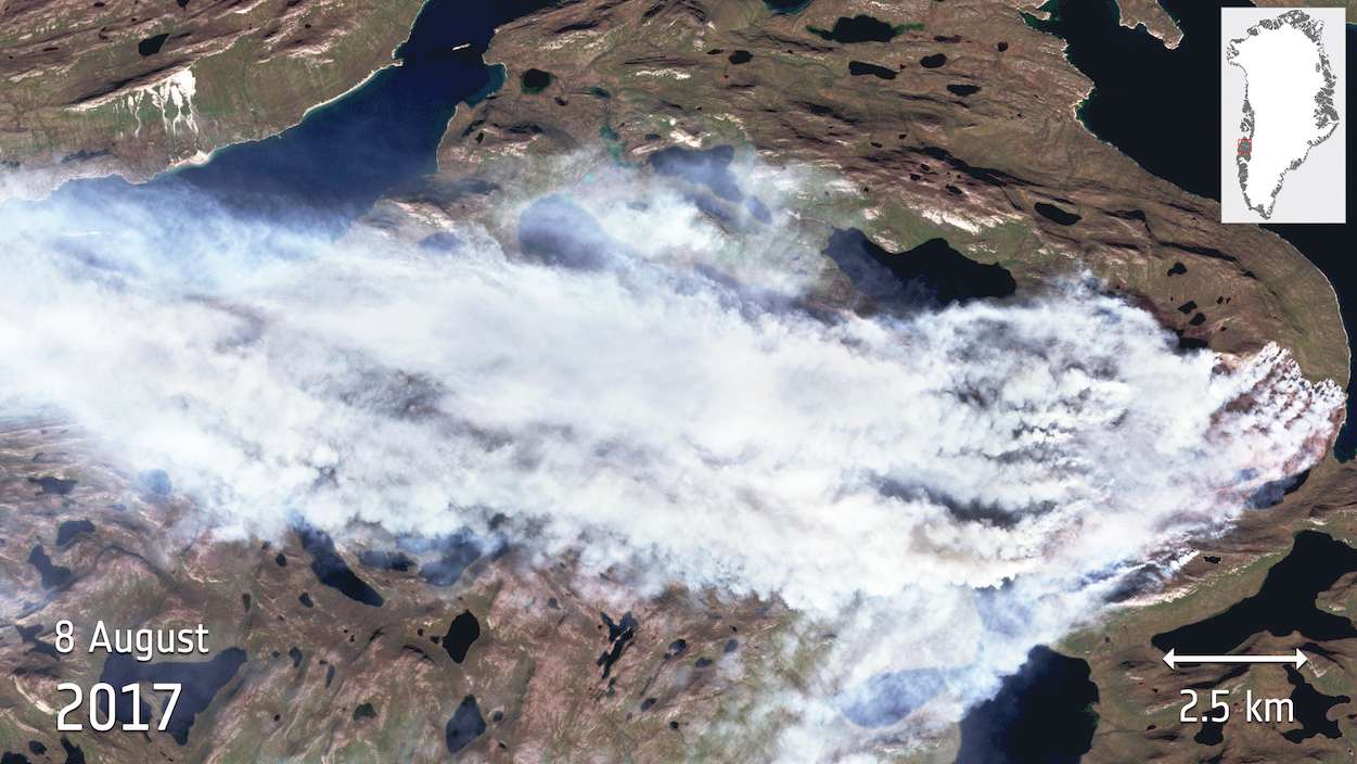 Today's Image of the Day comes thanks to the European Space Agency and features a look at a wildfire currently burning through Greenland.