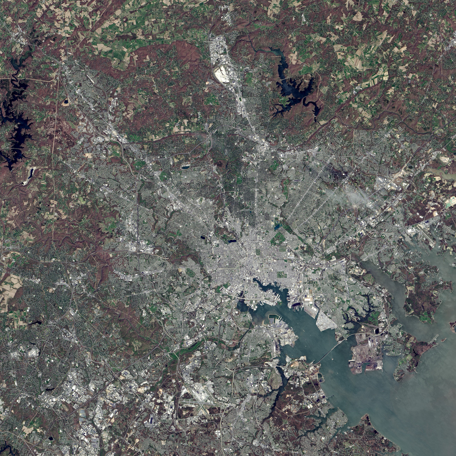 Today's Image of the Day comes thanks to the NASA Earth Observatory and features a look at Baltimore, Maryland from space.