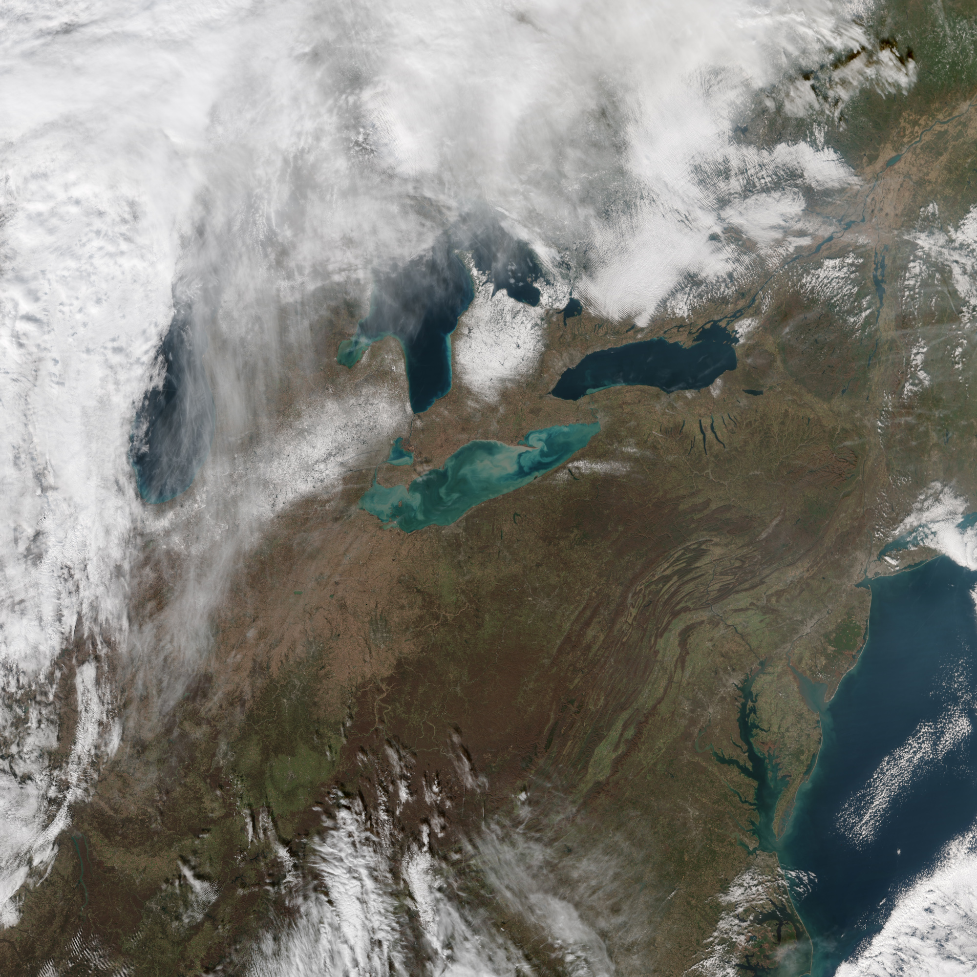 Today's Image of the Day comes thanks to the NASA Earth Observatory and features a look at sediments swirling in Lake Erie.
