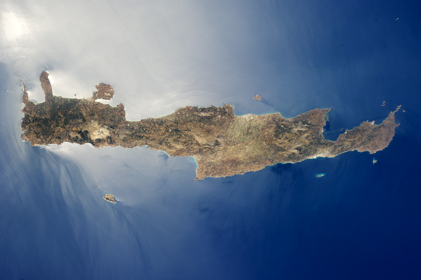 Today's Image of the Day comes thanks to the NASA Earth Observatory and features a look at the island of Crete, Greece and the Mediterranean Sea.