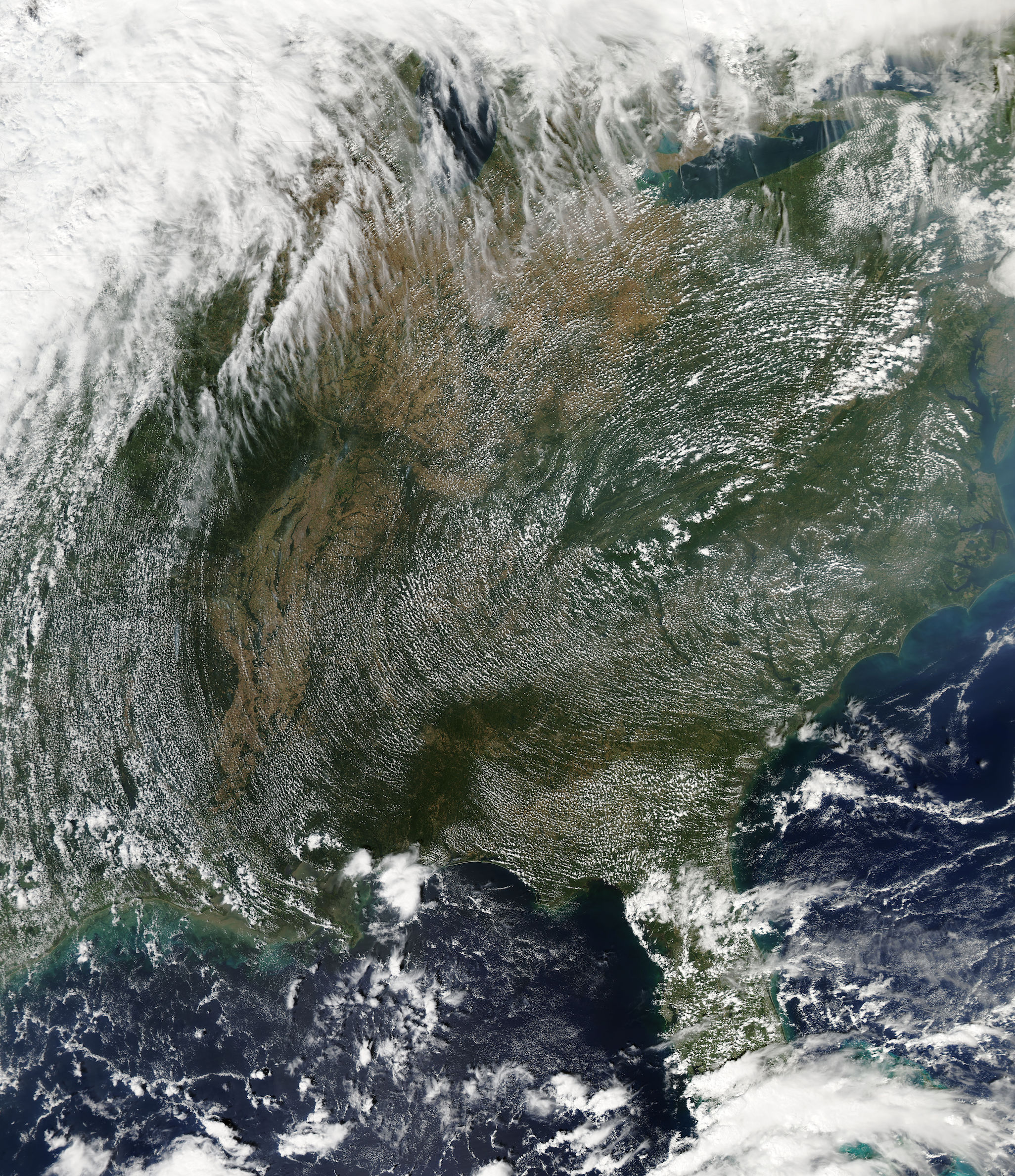 Today's Image of the Day comes thanks to the NASA Earth Observatory and features a look at high pressure cloud patterns over the eastern United States.