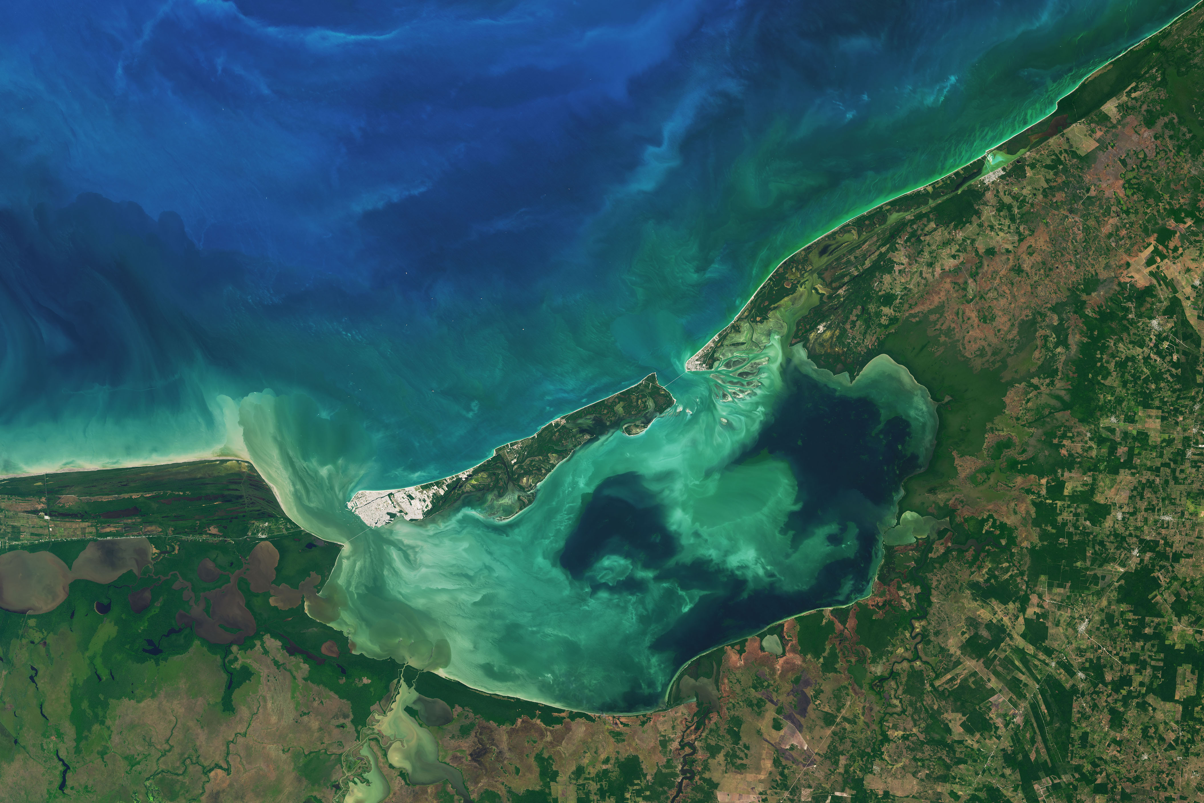 Today's Image of the Day comes thanks to the NASA Earth Observatory and features a look at the swirling, aqua waters of Mexico's largest coastal lagoon.