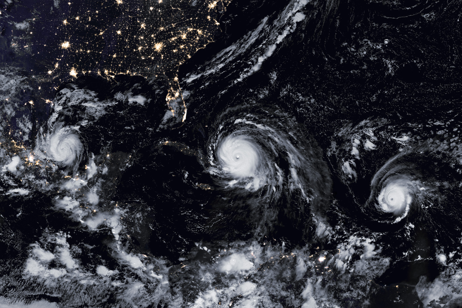 Today's Image of the Day features a look at Hurricanes Katia, Irma, and Jose striking the Atlantic Basin at the same time.