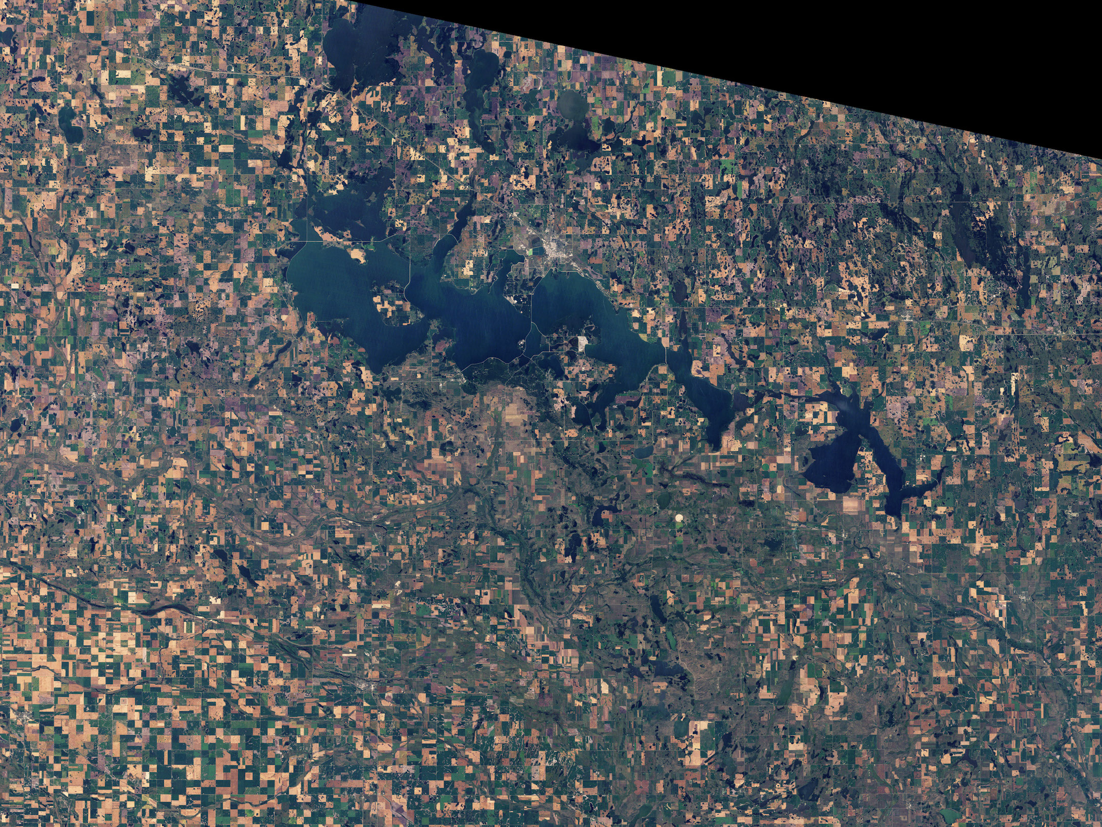 Today's Image of the Day comes thanks to the NASA Earth Observatory and features a look at Devils Lake, North Dakota from space.