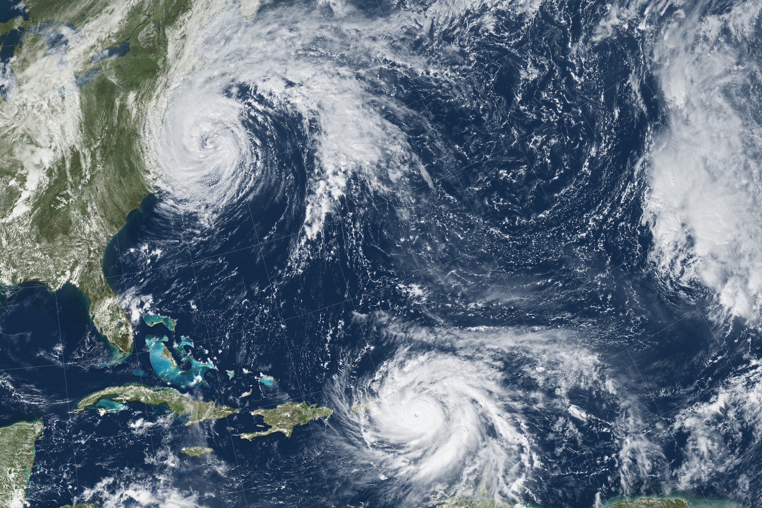 Today's Image of the Day comes thanks to the NASA Earth Observatory and features a look at Hurricanes Maria and Jose spinning through the Atlantic.