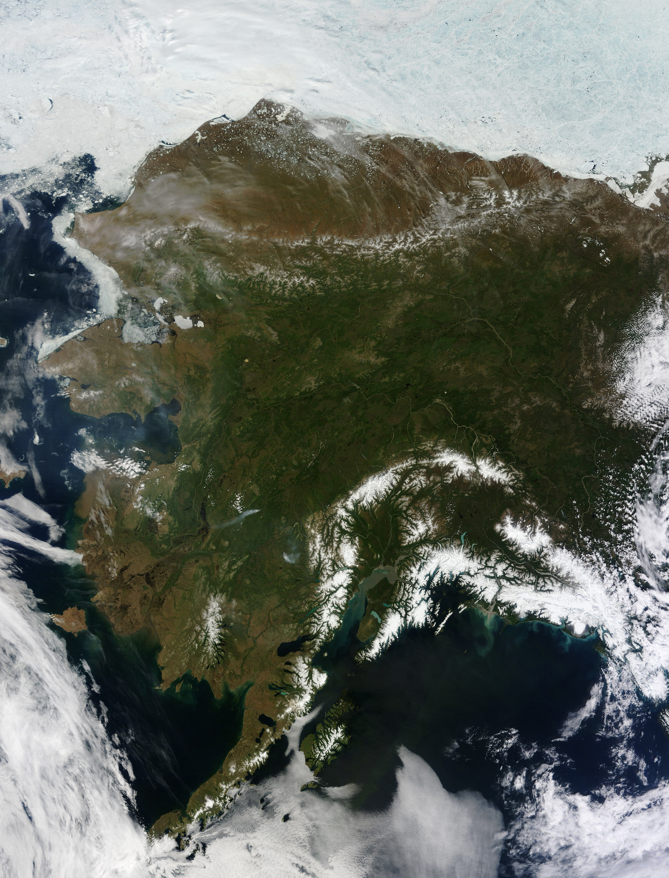 Today's Image of the Day comes thanks to the NASA Earth Observatory and features a look at Alaska on a rare cloudless day.