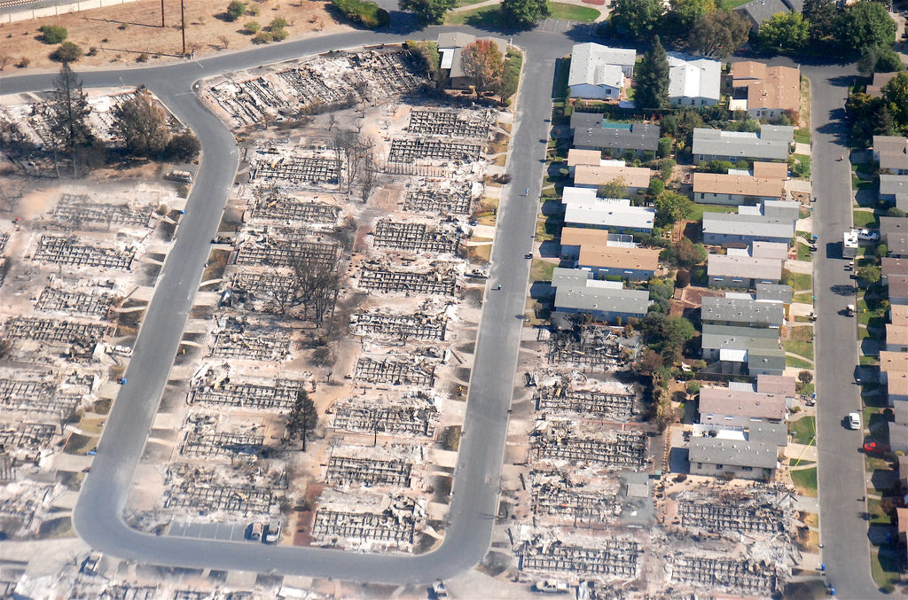 An aerial view of the homes burnt to the ground by the wildifres in Santa Rosa, California. The California National Guard and firefighters from throughout the state were hard at working bringing the Northern California fires under control on Sunday, Oct. 15.