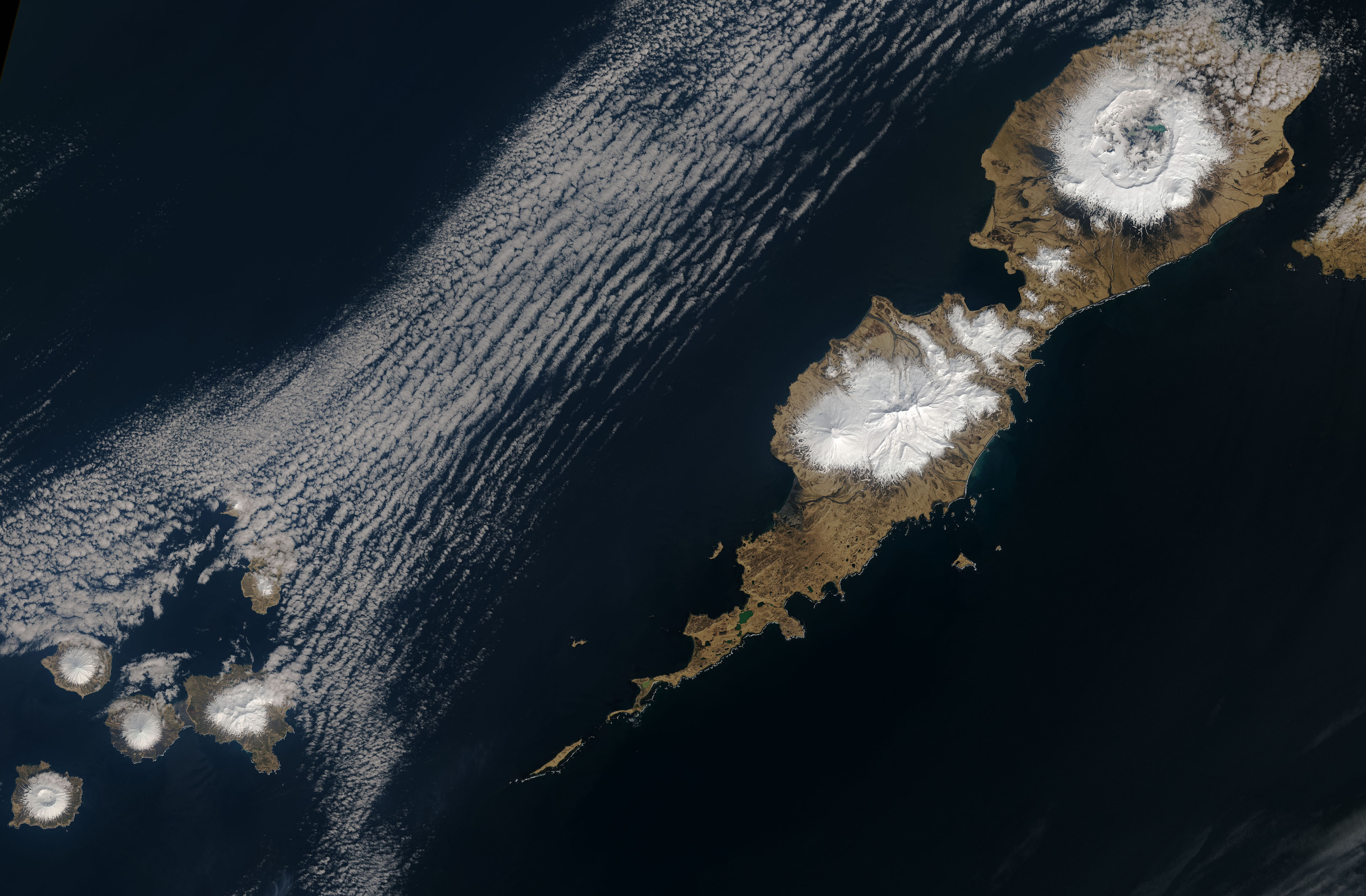 Today's Image of the Day comes thanks to the NASA Earth Observatory and features a look Umnak Island, the third largest in the Aleutian Island chain.