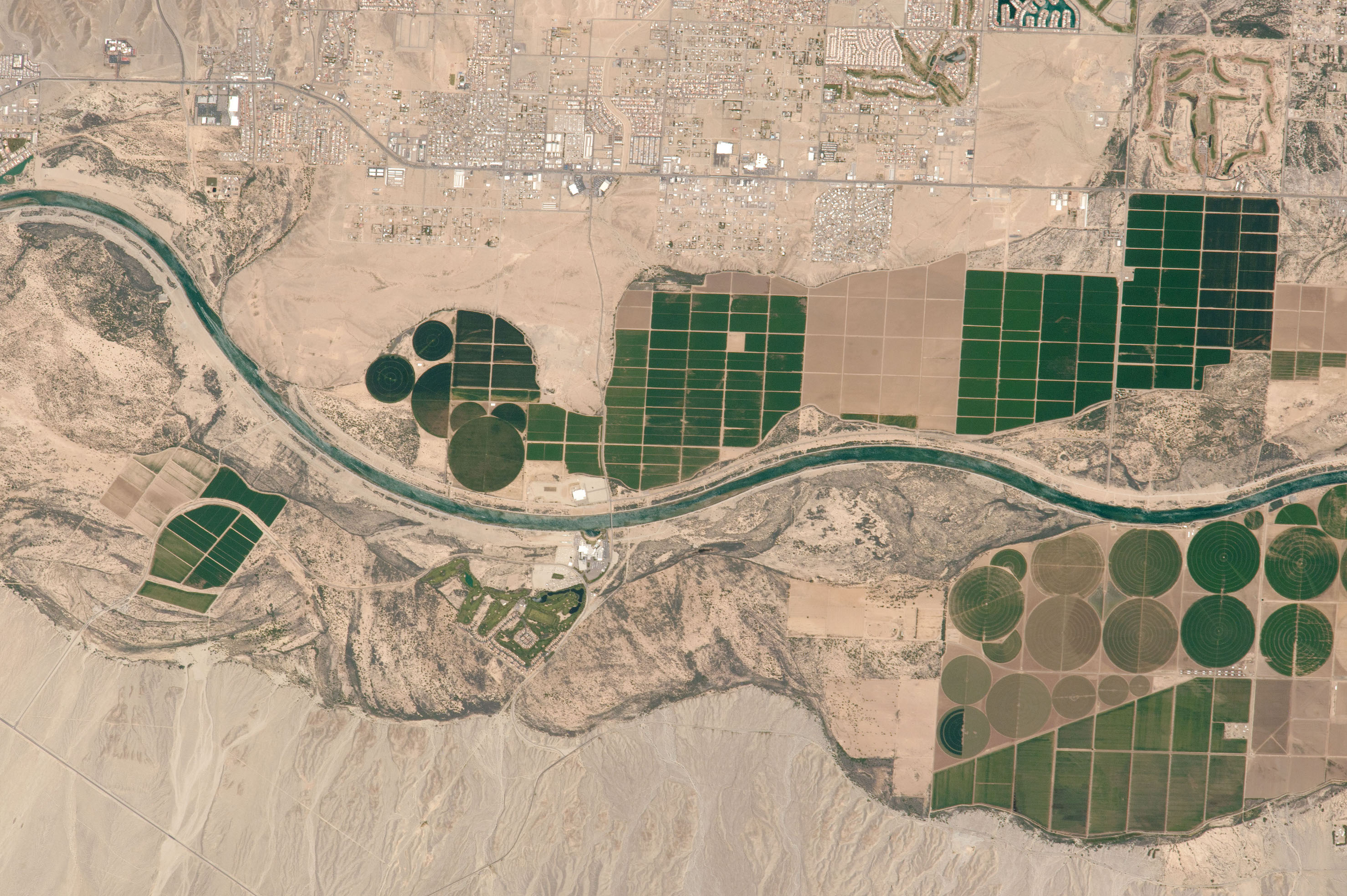 Today's Image of the Day comes thanks to the NASA Earth Observatory and features a look at agriculture along the Colorado River.