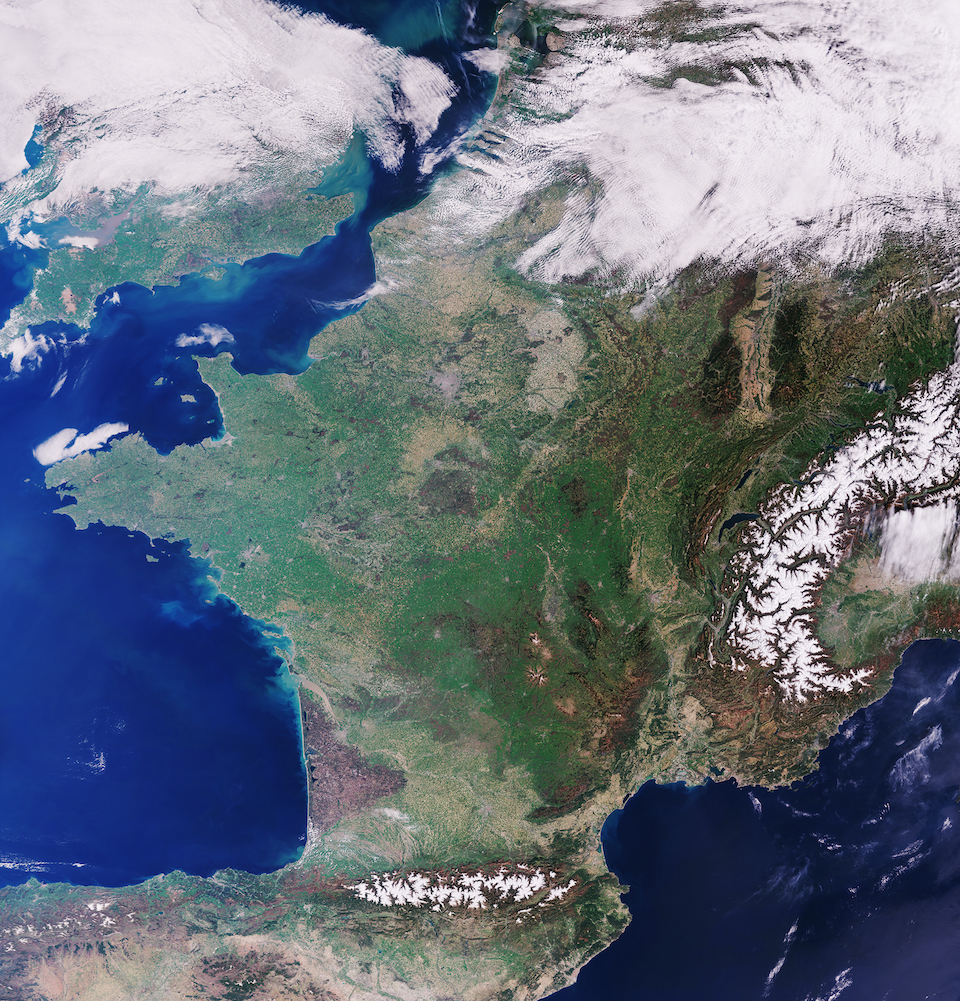 Today's Image of the Day comes thanks to the European Space Agency (ESA) and features a look at France from space on a cloudless day.