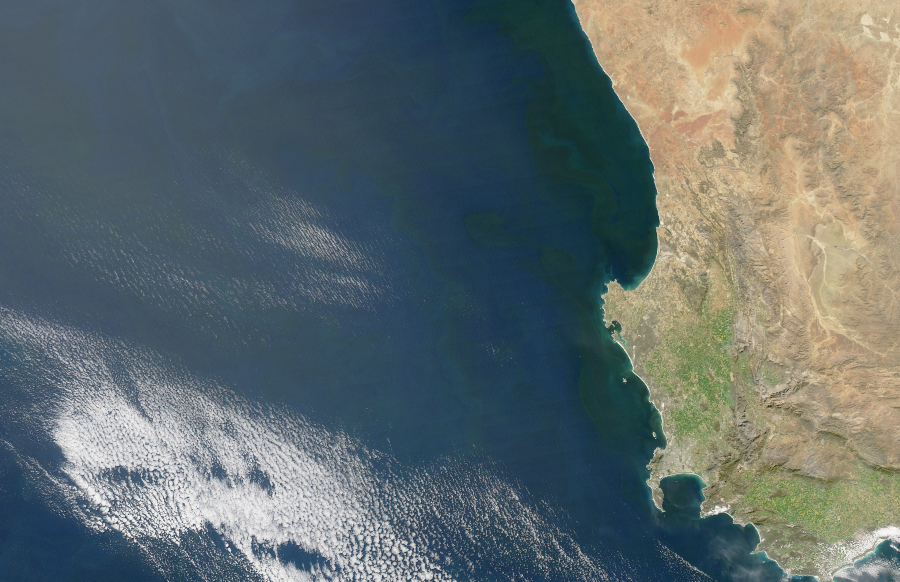 Today's Image of the Day comes courtesy of the NASA Earth Observatory and features a look at the Benguela Current off the southwestern coast of Africa.