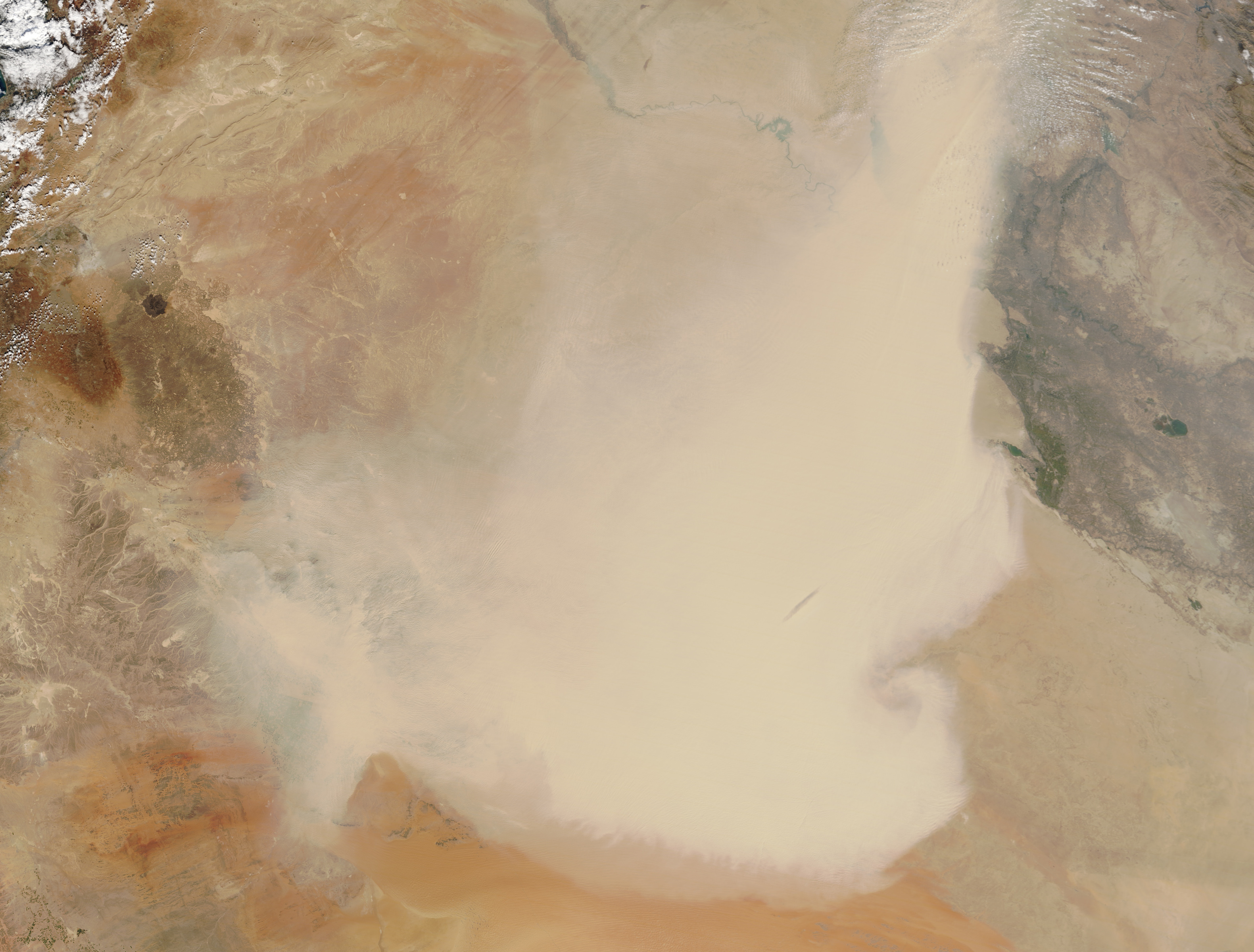 Today's Image of the Day comes courtesy of the NASA Earth Observatory and features a look at a recent dust storm over the Middle East.