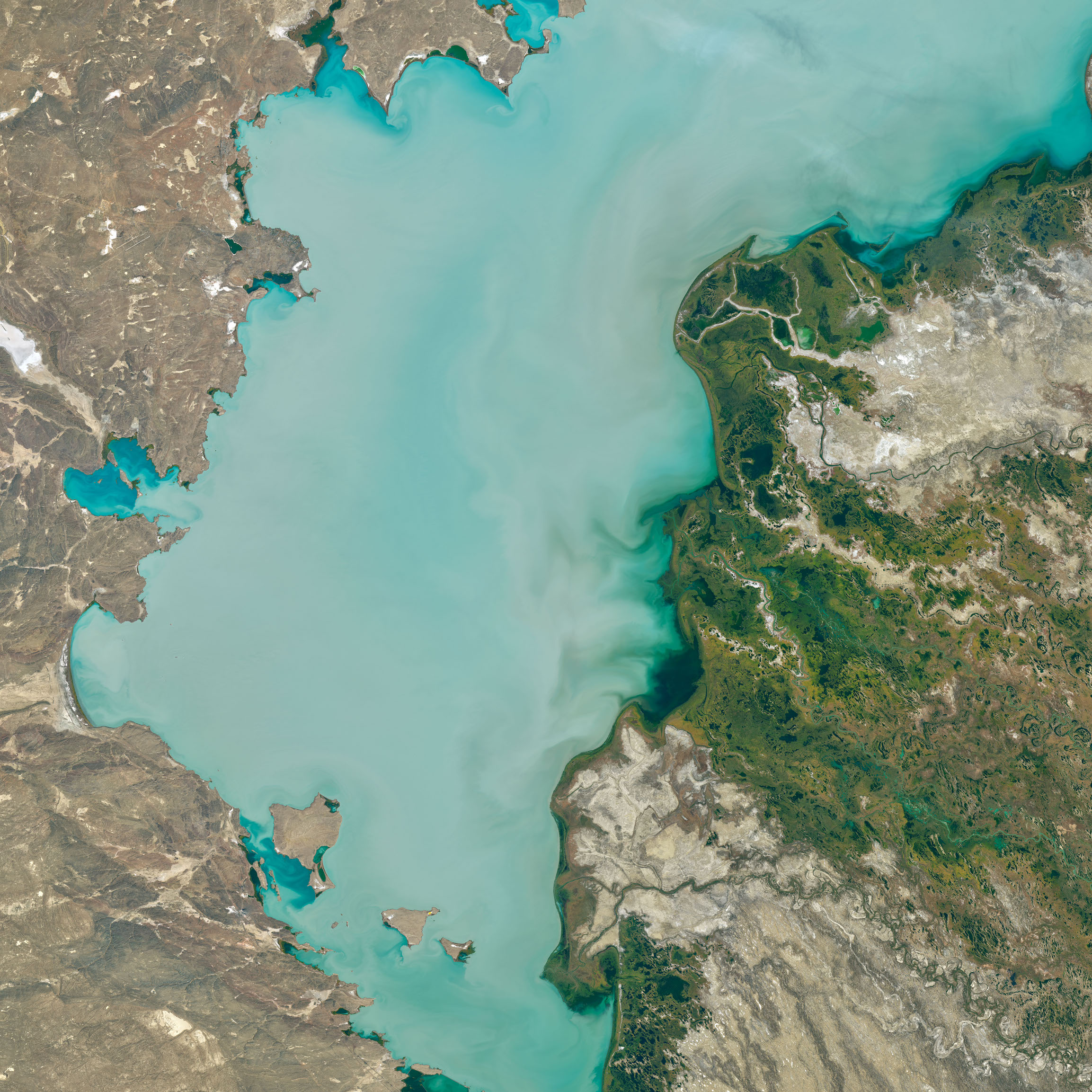 Today's Image of the Day comes courtesy of the NASA Earth Observatory and features a look at Lake Balkhash, located in southeastern Kazakhstan.