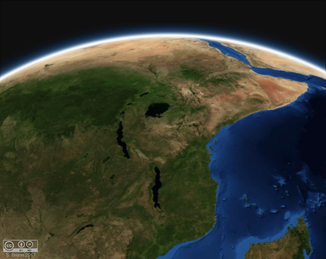 The East African Rift System is currently the largest in the world. Yet, the global rift network 130 and 50 million years ago was more than 5 times longer. Continental rifting contributes carbon to Earth's atmosphere, but not at the rate of human activity.