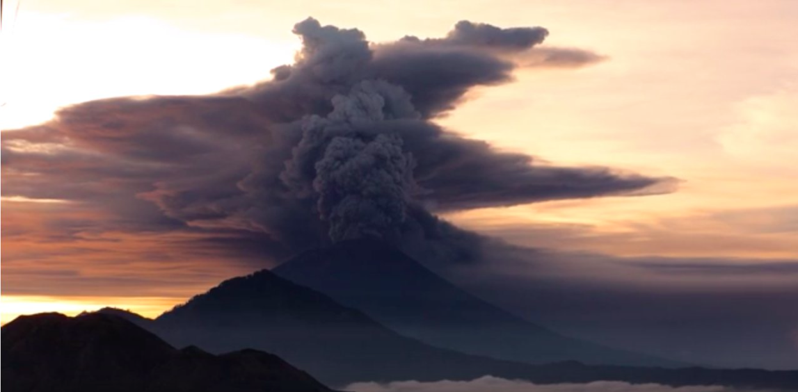 Mount Agung sent clouds of ash into the sky in Bali as the volcano erupted this weekend, prompting the evacuation of over 24,000 people.