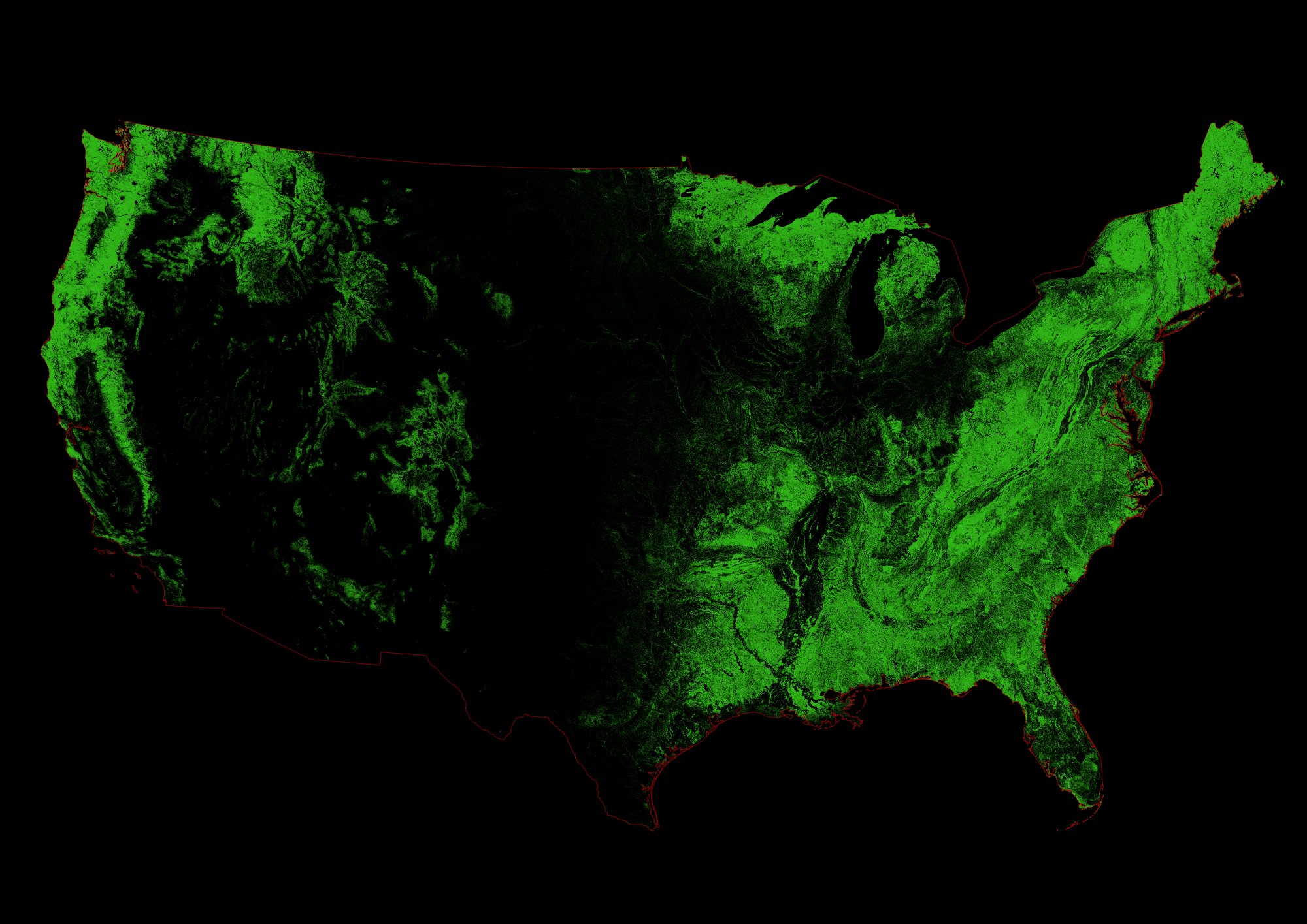 A geographer has turned U.S. topography into works of art with forest cover maps showcasing the rich, green forests spanning the country.