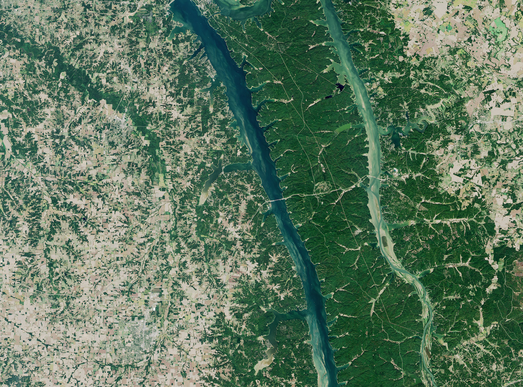 Today's Image of the Day comes from the NASA Earth Observatory and features a look at Kentucky Lake and Lake Barkley in Kentucky and Tennessee.