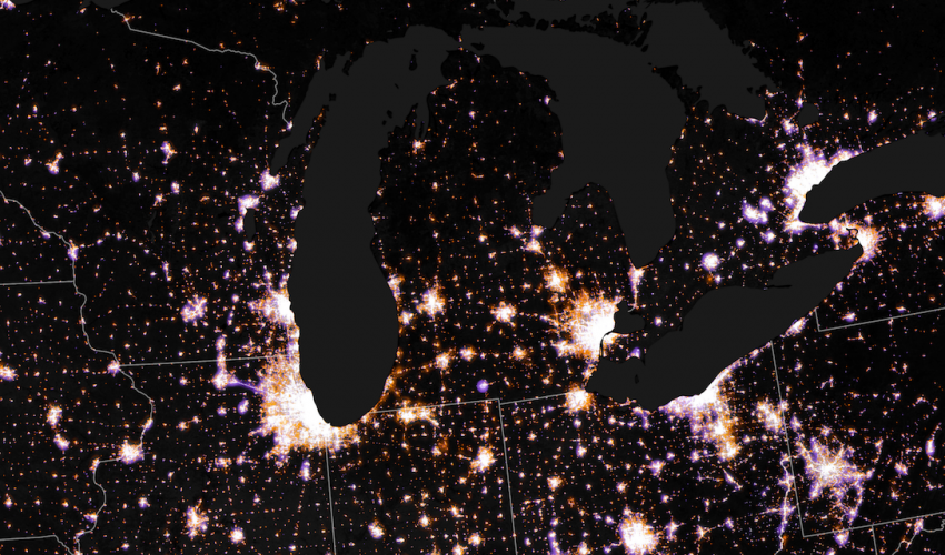 Today's Image of the Day comes from the NASA Earth Observatory and features a look at glowing night lights as seen from above Chicago and the Great Lakes.
