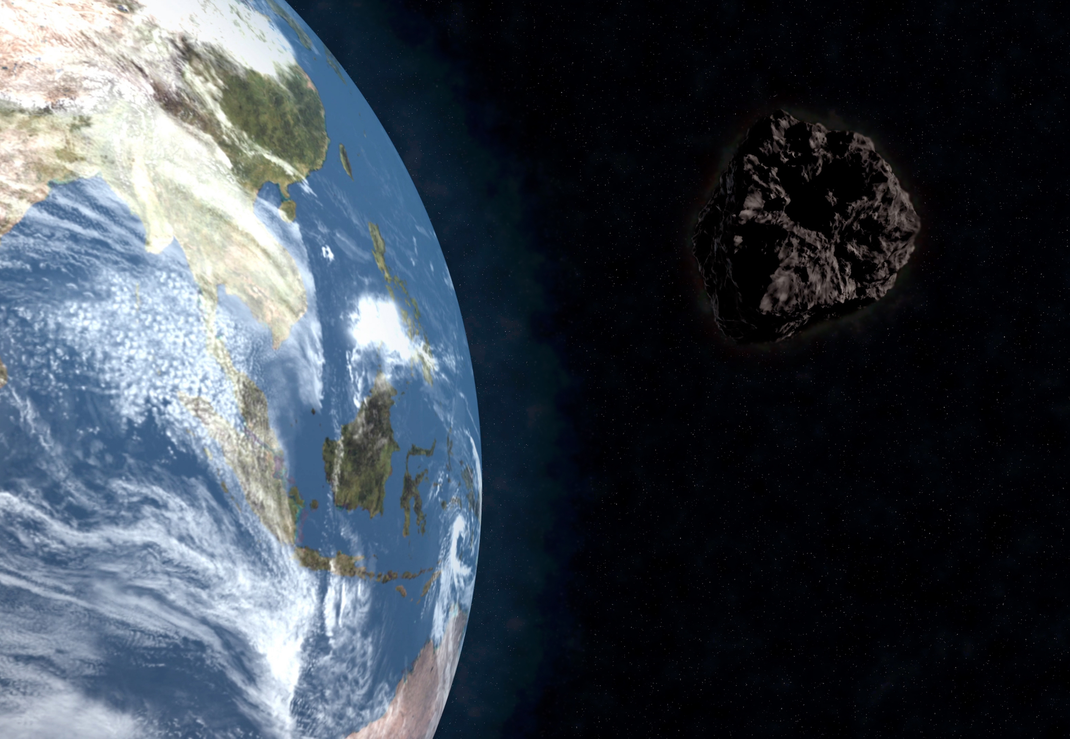 A potentially hazardous asteroid blasted past the Earth today, traveling at a speed of 21,500 miles per hour.