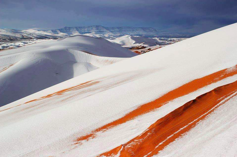 For the third time in nearly forty years, snow fell in parts of the Sahara Desert this past weekend, one of the hottest places in the world.