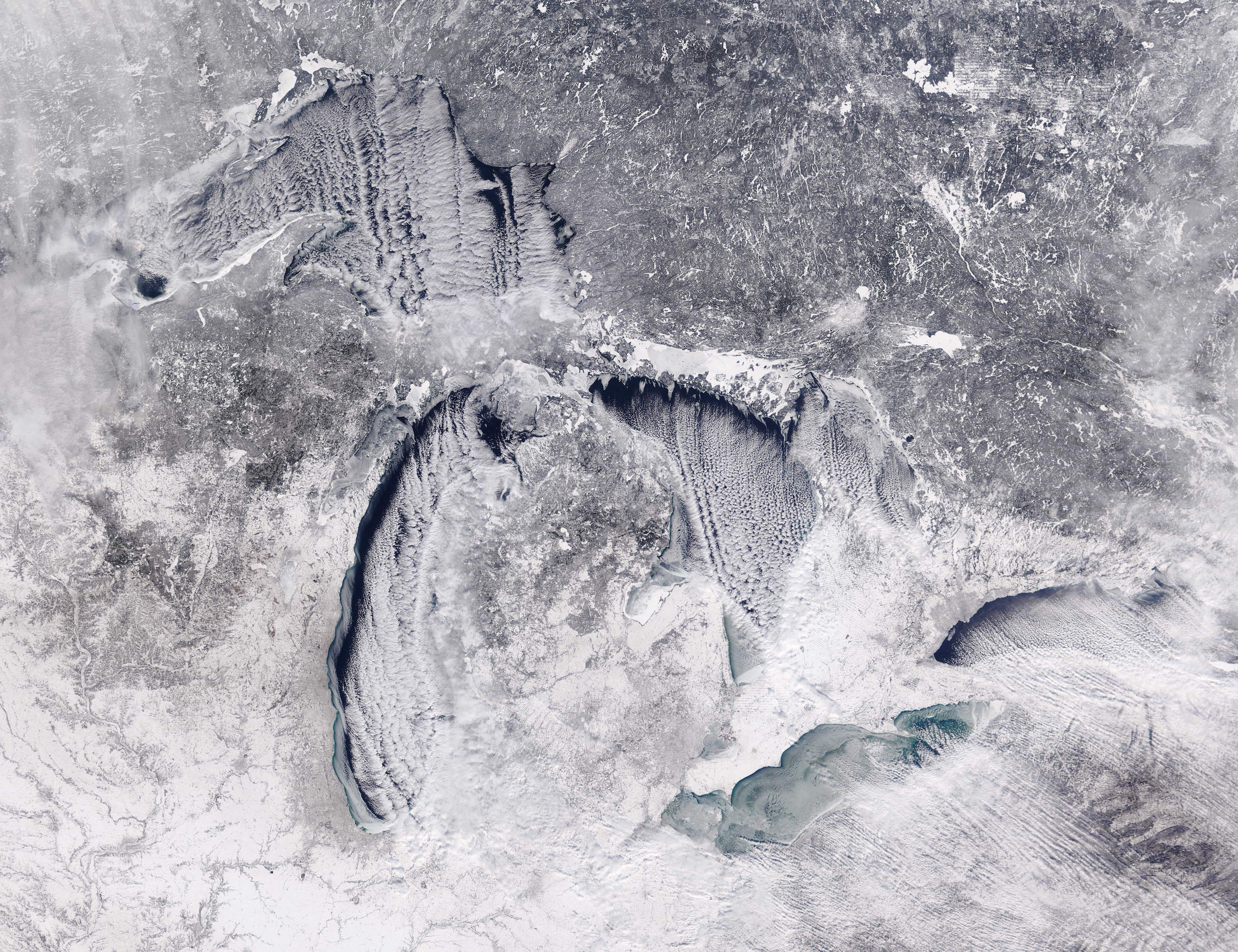 Today's Image of the Day comes from the NASA Earth Observatory and features a look at a wintry Lake Erie capped with ice.