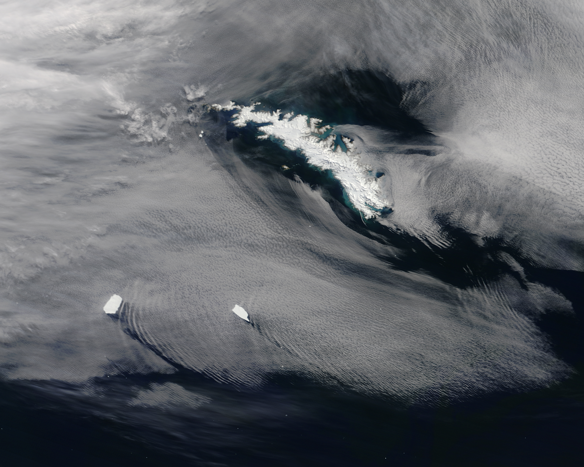 Today's Image of the Day comes from the NASA Earth Observatory and features a look at icebergs off the coast of South Georgia Island.