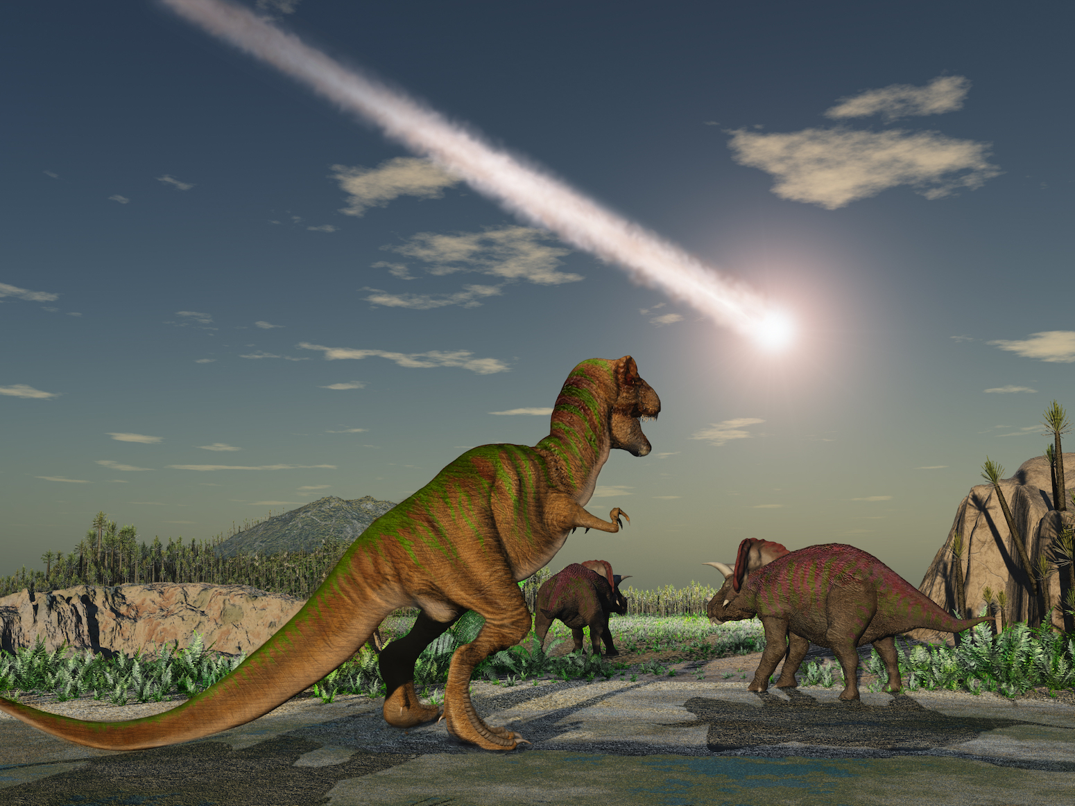 Researchers are reporting that a population boom put dinosaurs at risk of extinction because they were running out of space.