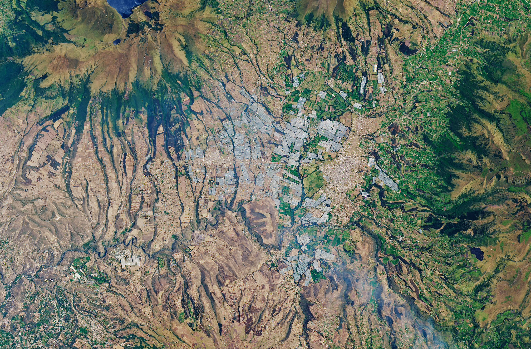 Today's Image of the Day comes from the NASA Earth Observatory and features a look at greenhouses in the Cayambe Valley of Ecuador's Northern Highlands.