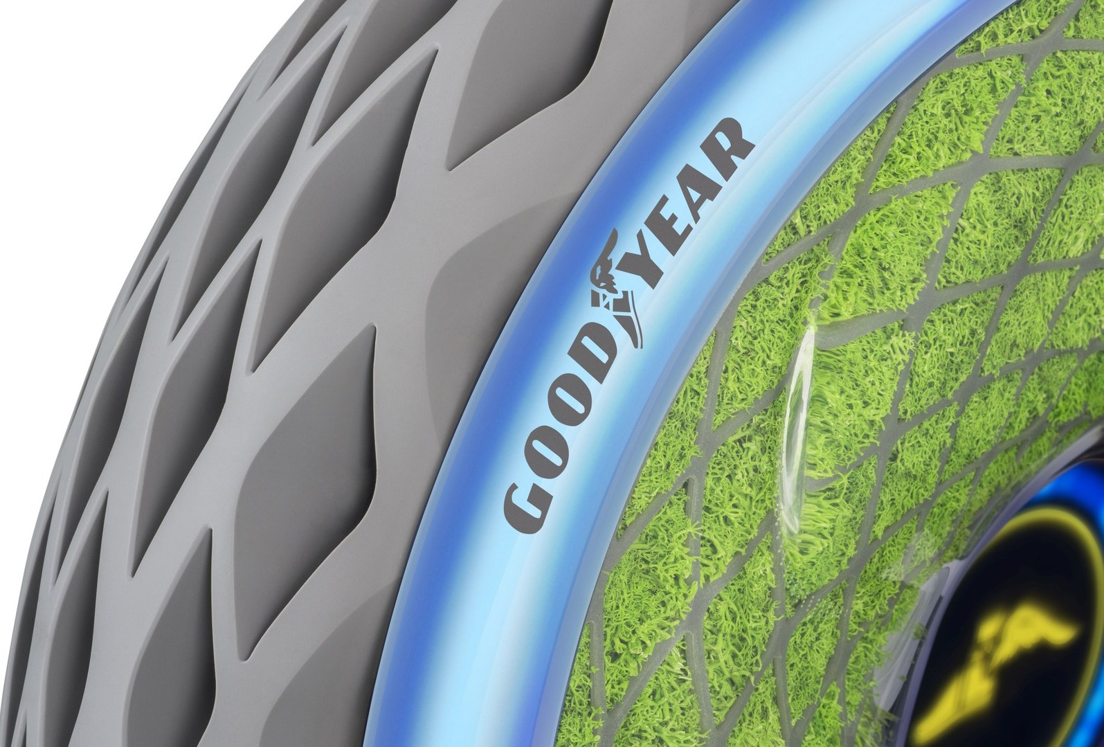 Tire titan Goodyear has announced the company's new eco-friendly concept tires which are embedded with moss to absorb carbon dioxide.