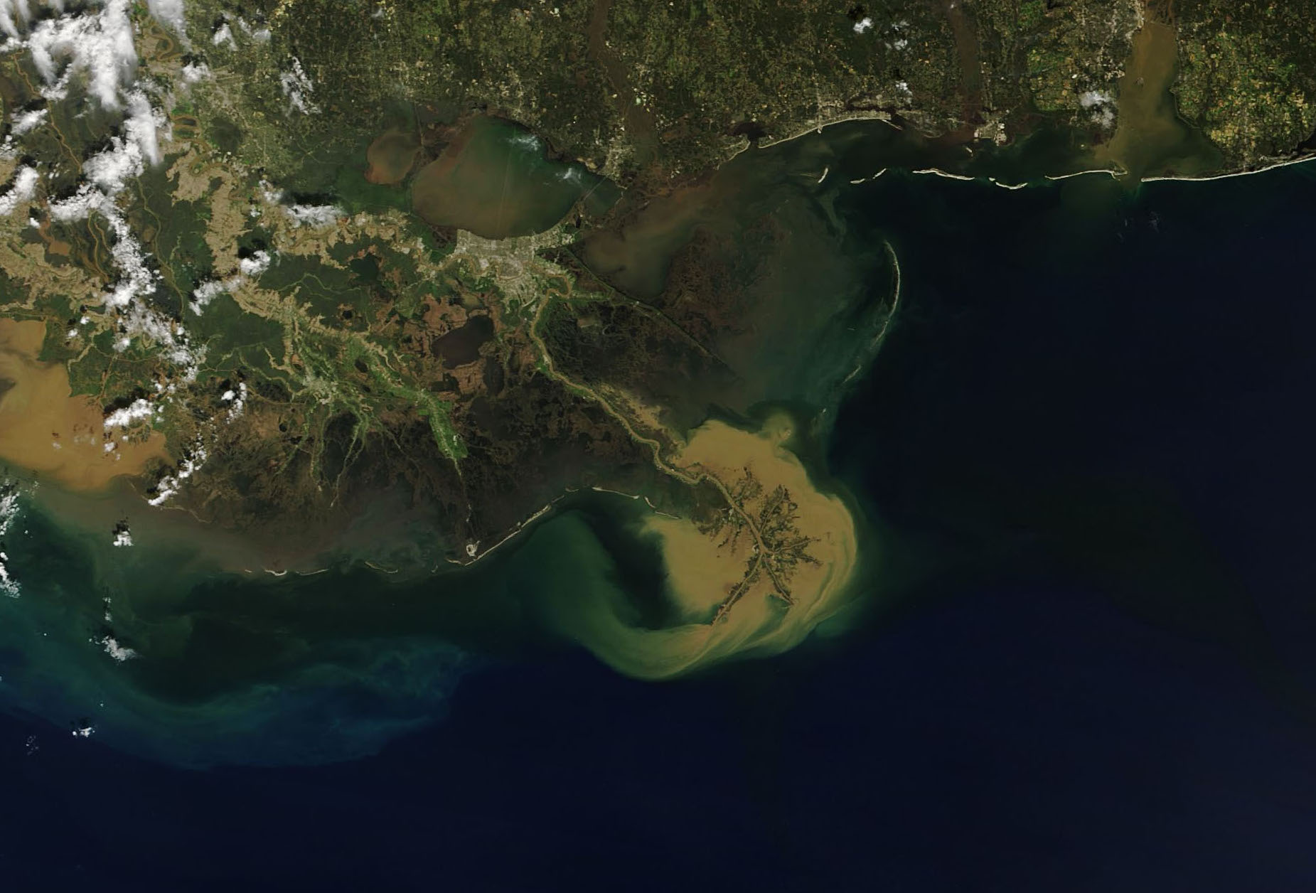 Today's Image of the Day comes from the NASA Earth Observatory and features a look at sediment in the Gulf of Mexico off the coast of Louisiana.