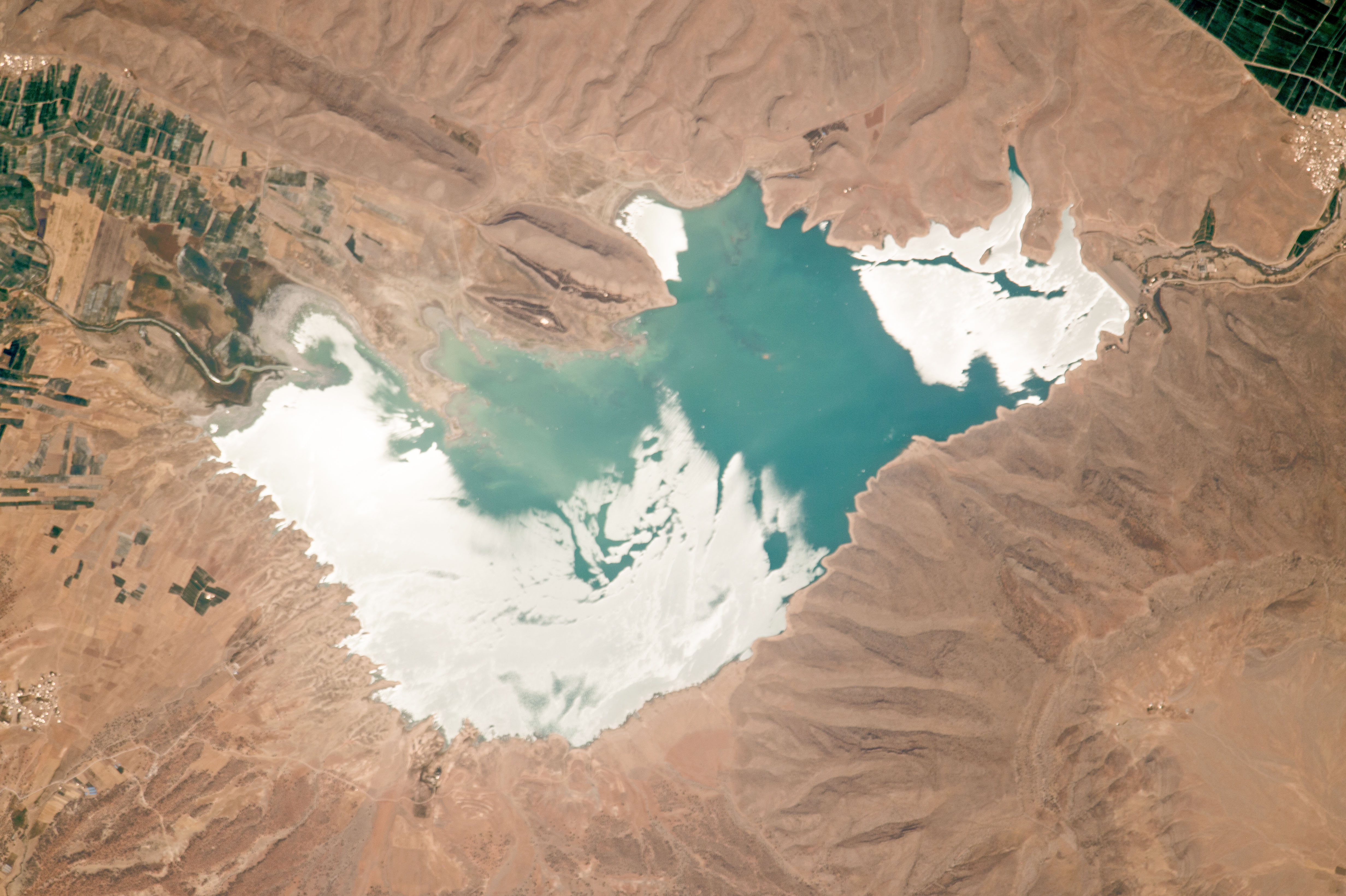 Today's Image of the Day comes from the NASA Earth Observatory and features a look at Darodzan Lake and the Zagros Mountains in Iran.