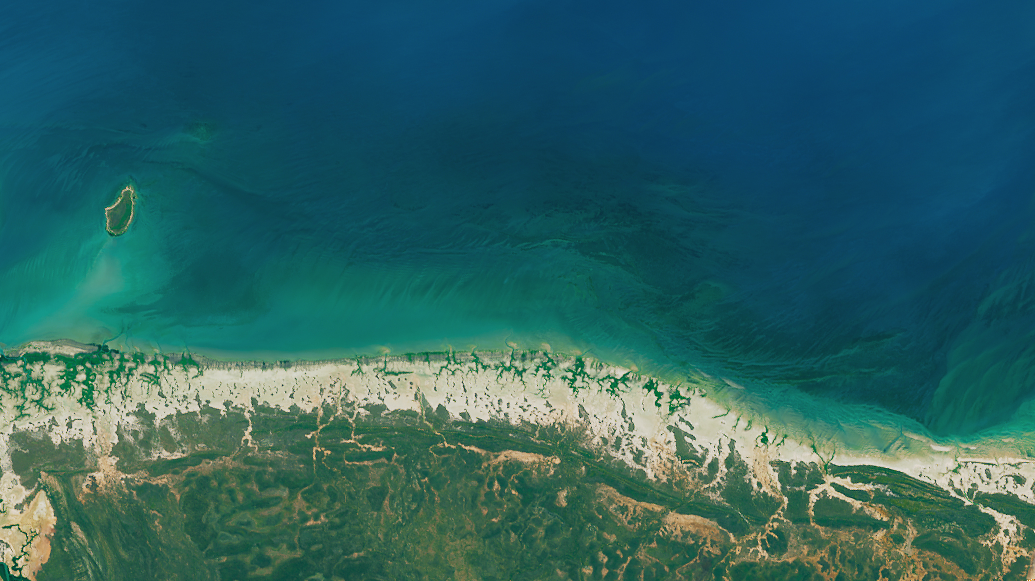 Today's Image of the Day comes from the NASA Earth Observatory and features a look at mangroves dying off along the northern coast of Australia along the Gulf of Carpentaria.