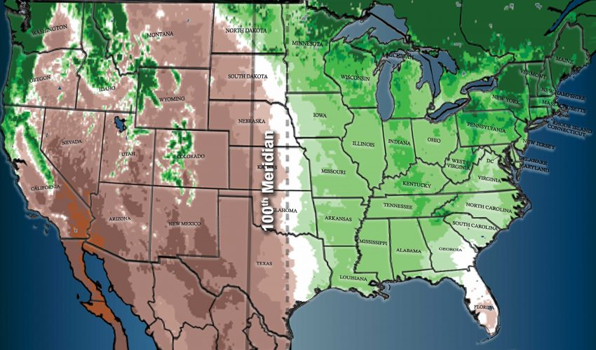 The longitude that forms an invisible boundary between the humid eastern United States and the arid western plains is gradually shifting eastward due to climate change.