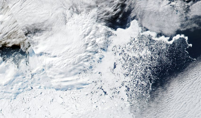Today's Image of the Day comes from the NASA Earth Observatory and features a look at sea ice just off the coast of the Antarctica Peninsula.