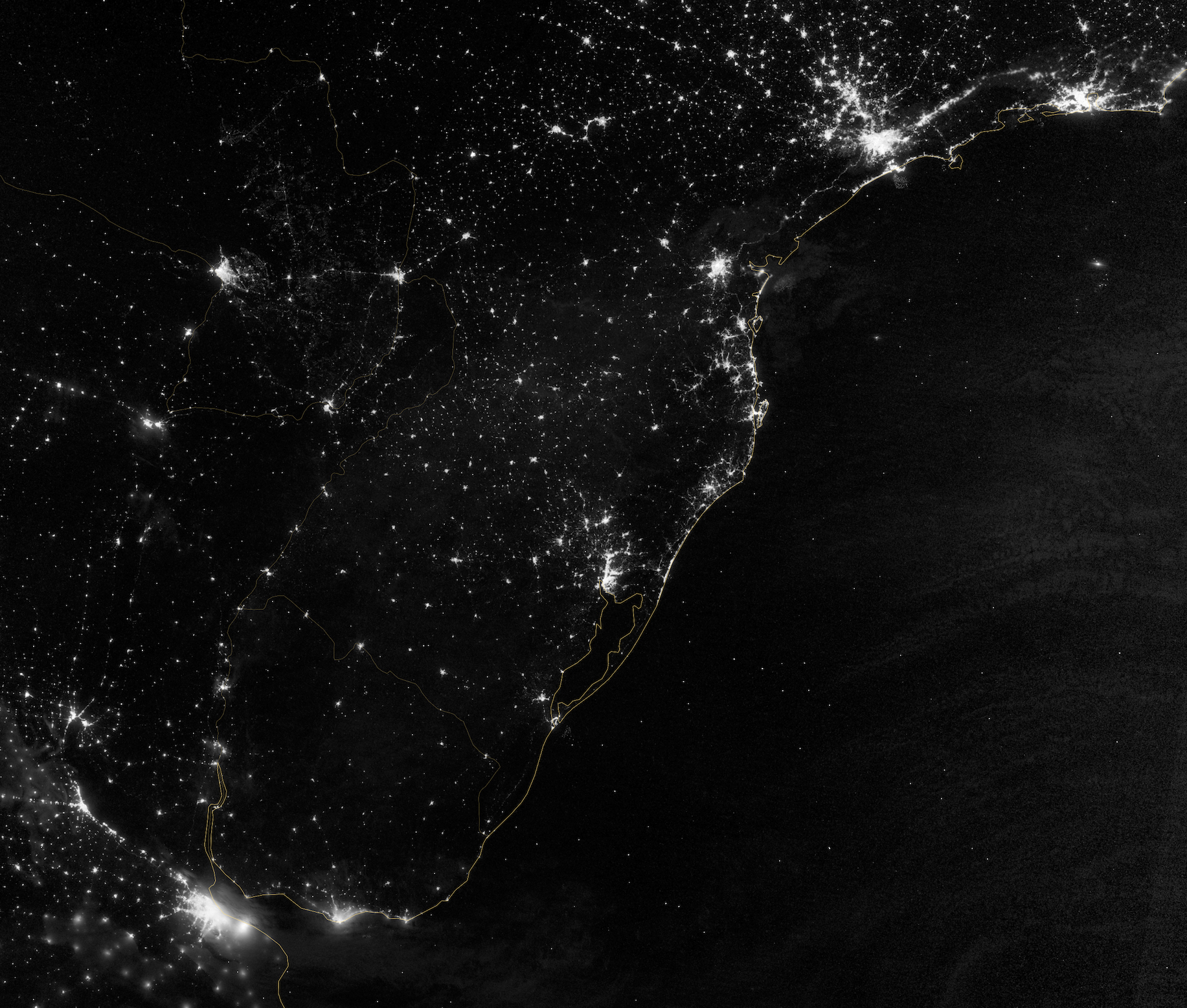 Today's Image of the Day comes from the NASA Earth Observatory and features a look at the Atlantic coast of South America at night.