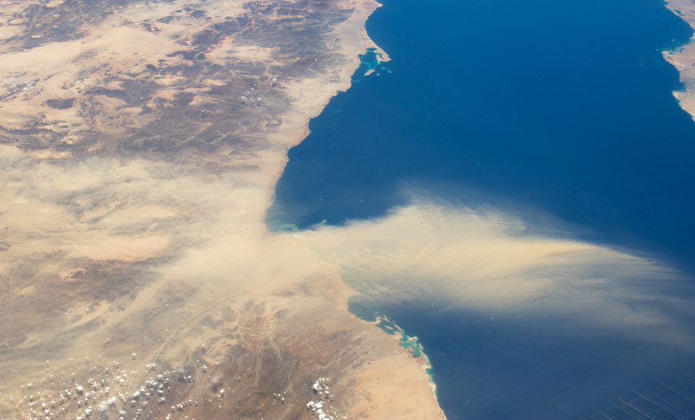 Today's Image of the Day comes from the NASA Earth Observatory and features a look at Egyptian desert dust suspended in the air over the Red Sea.