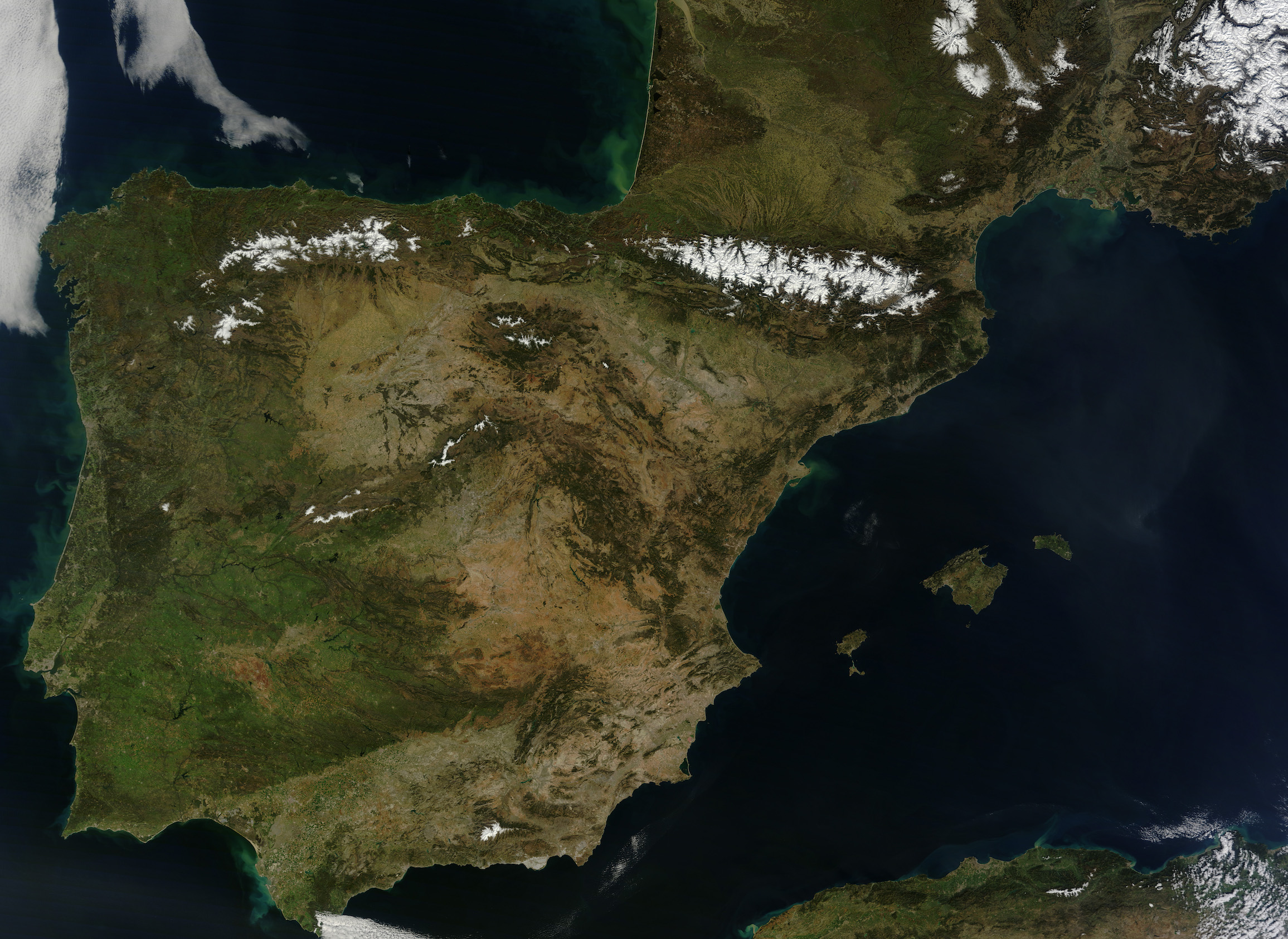 Today's Image of the Day comes from the NASA Earth Observatory and features a look at Spain, Portugal, Andorra, and southern France on a perfectly clear day.
