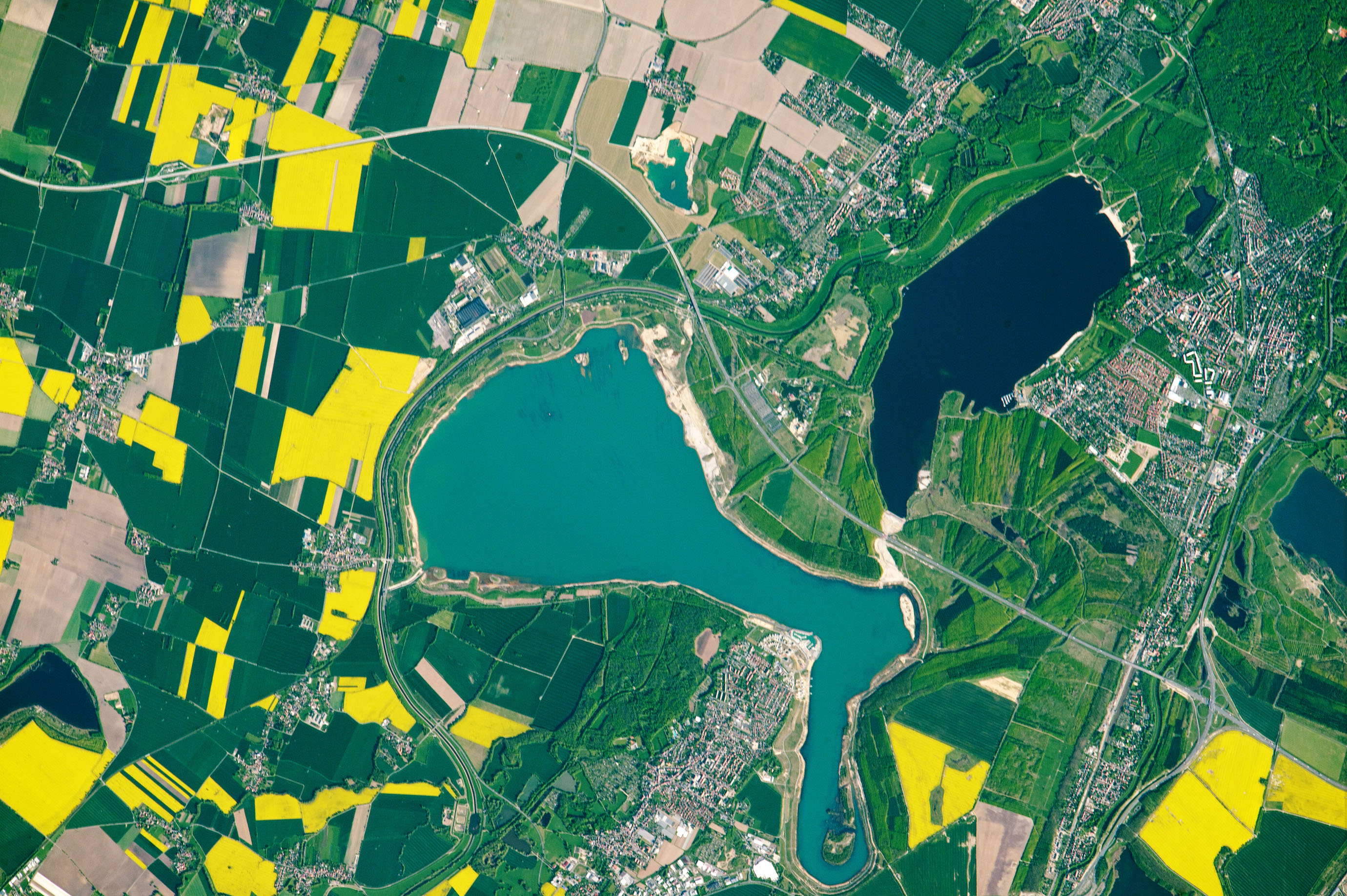 Today's Image of the Day comes from the NASA Earth Observatory and features a look at man-made lakes in Neuseenland, Germany, located about 120 miles southwest of Berlin.