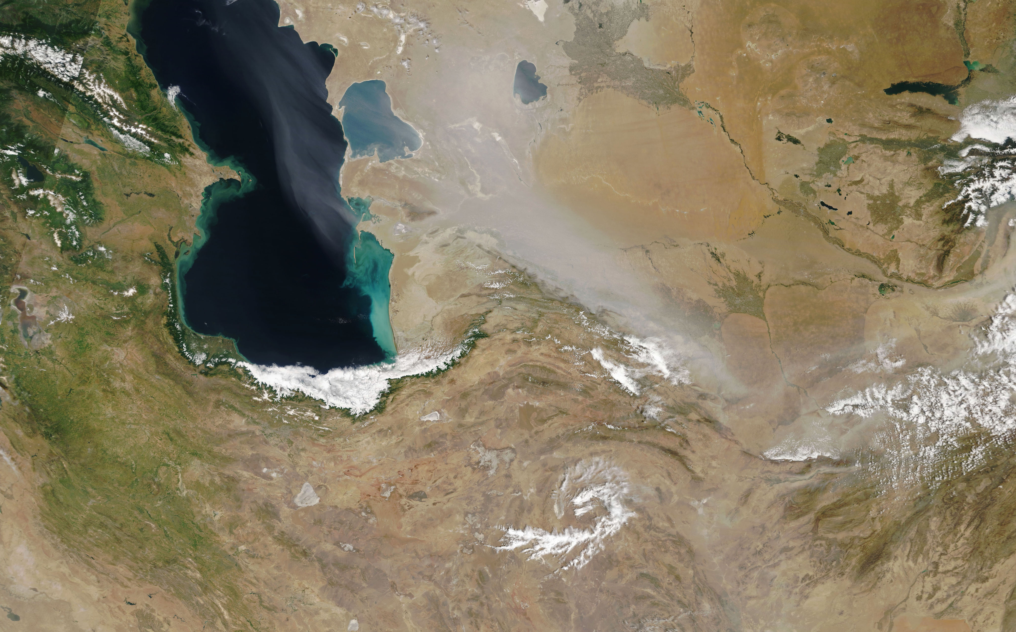 Today's Image of the Day comes from the NASA Earth Observatory and features a look at violent dust storms blowing across western Asia this past month.