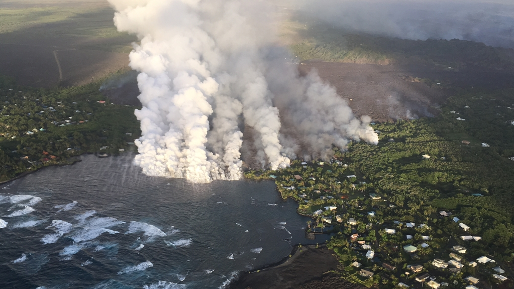 By 10:30 p.m. on Sunday, lava from the Kilauea volcano's fissure 8 began pouring into Kapoho Bay on the eastern side of Hawaii's Big Island.