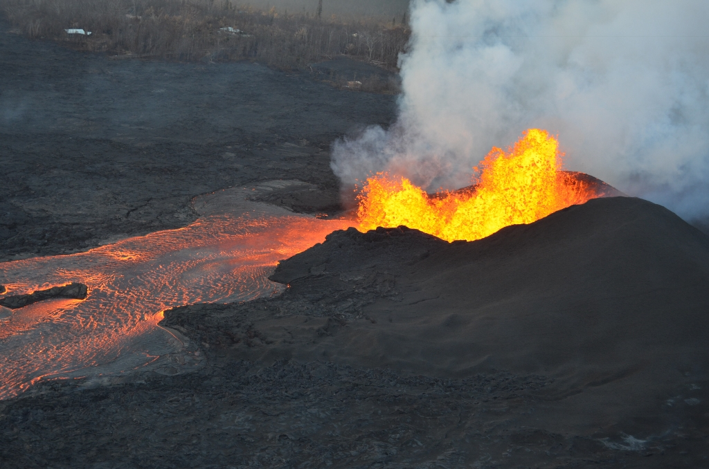 Today's Image of the Daycomes from the U.S. Geological Survey, and shows the explosive activity of fissure 8 as it shoots lava up to 220 feet in the air.